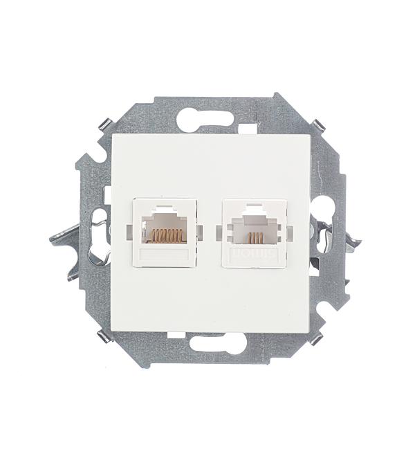 Механим розетки телефонная + компьютерная RJ11+RJ45 кат.5е, Simon 15, белая