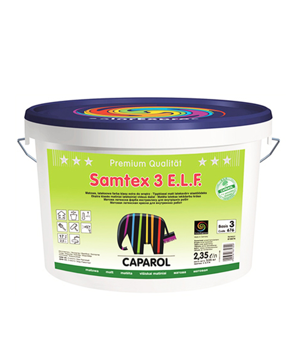 Краска в/д матовая латексная белая Samtex 3 ELF База 3 2,35 л