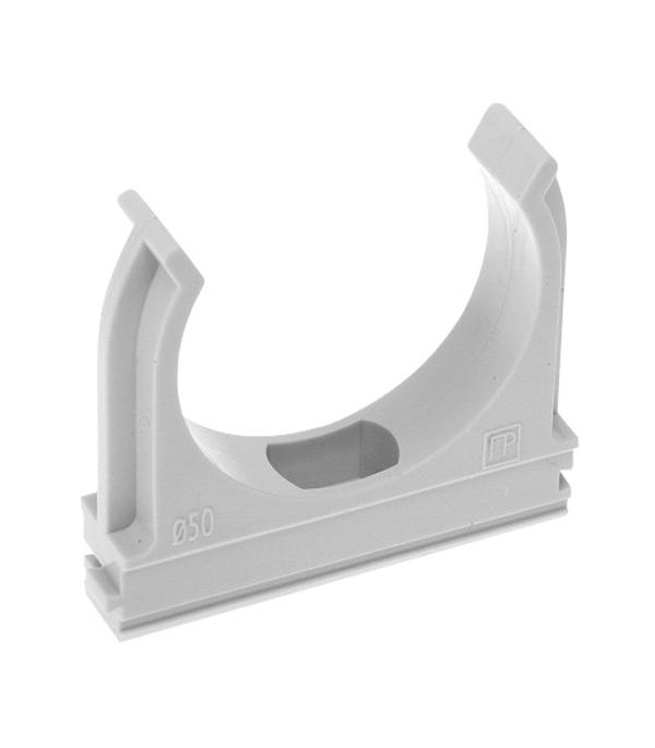 Крепеж-клипса для труб 32 мм серая (50 шт.)