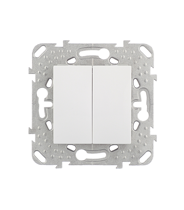 Механизм переключателя двухклавишного Schneider Electric Unica с/у белый выключатель 1 клавишный с индикацией в рамку белый unica