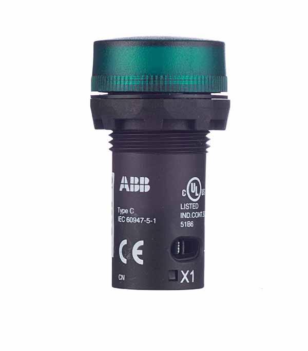 Лампа сигнальная ABB 230BCL-523G зеленая abb лицевая панель для поворотного светорегулятора tacto серебряный