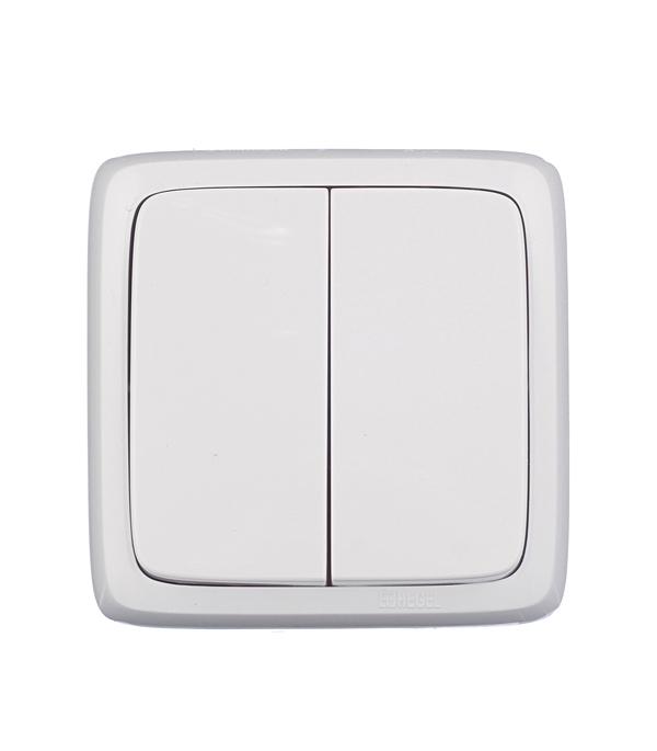Выключатель двухклавишный HEGEL Slim о/у белый выключатель двухклавишный наружный бежевый 10а quteo