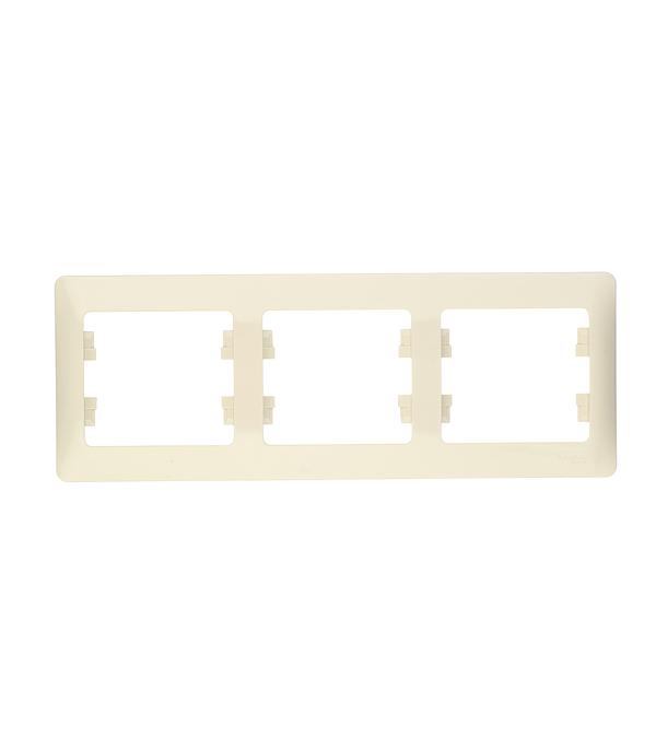Рамка трехместная Schneider Electric Glossa бежевая механизм выключателя schneider electric glossa белый 1 клавишный с подсветкой gsl000113