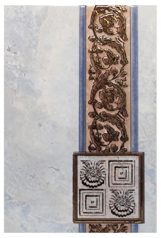 Плитка декор 200х300х7 мм Иберия синяя