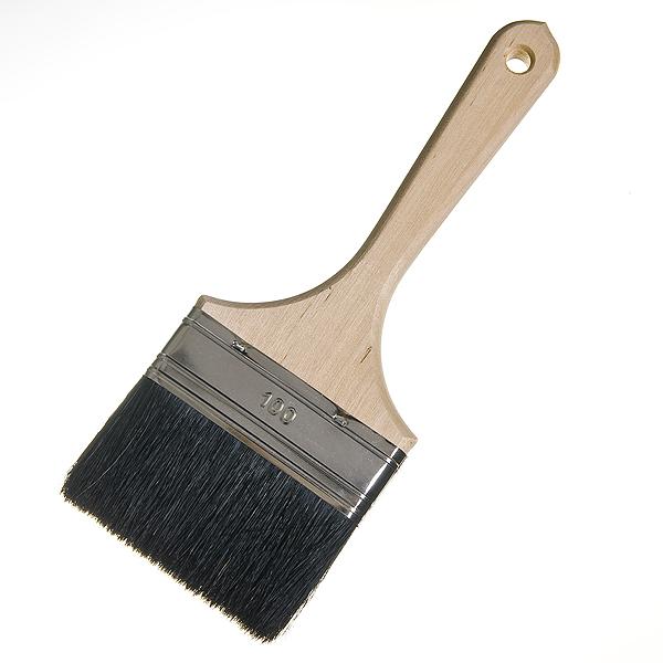 Кисть плоская 100 мм натуральная щетина деревянная ручка Лазурный берег Стандарт