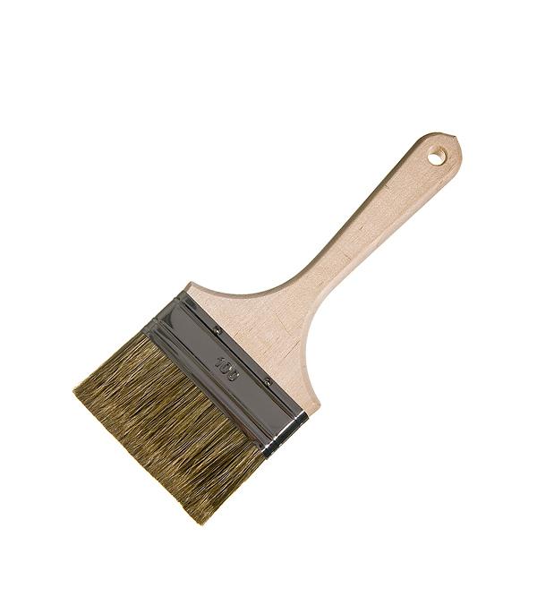 Кисть плоская Лазурный берег 100 мм смешанная щетина деревянная ручка кисть малярная плоская лазурный берег кп 120 35 деревянная