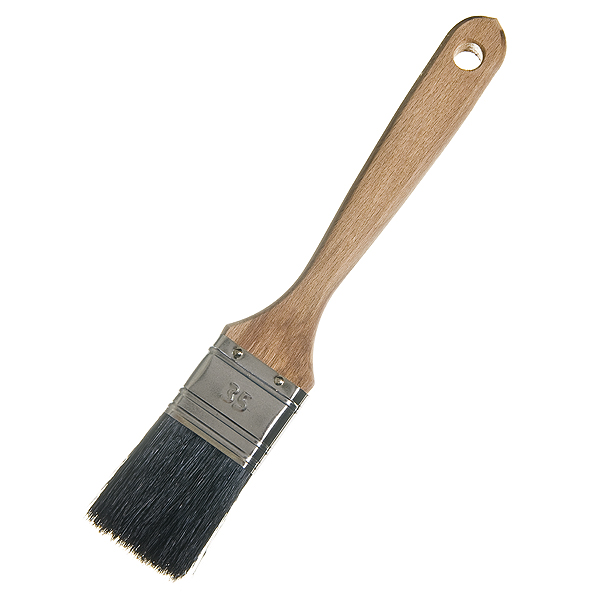 Кисть плоская  35 мм натуральная щетина деревянная ручка Лазурный берег Стандарт