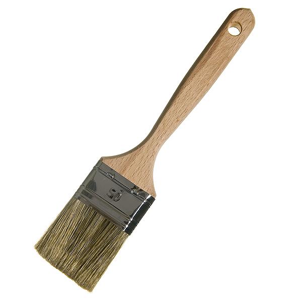 Кисть плоская  50 мм смешанная щетина деревянная ручка Лазурный берег Стандарт