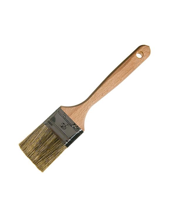 Кисть плоская Лазурный берег 50 мм смешанная щетина деревянная ручка кисть klassik плоская смешанная щетина 50мм kraftool 1 01012 50