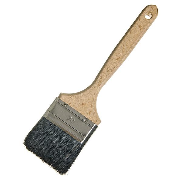 Кисть плоская  70 мм натуральная щетина деревянная ручка Лазурный берег Стандарт