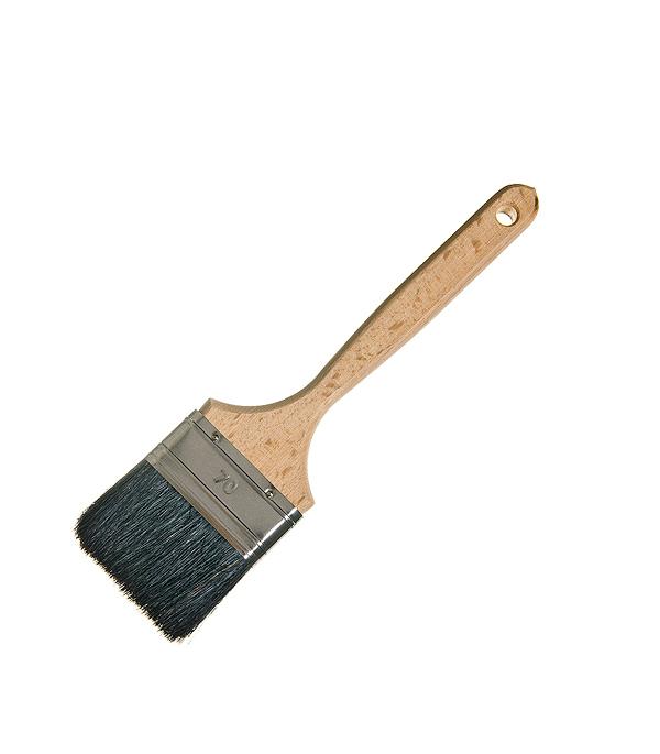 Кисть плоская Лазурный берег 70 мм натуральная щетина деревянная ручка кисть малярная плоская лазурный берег кп 120 35 деревянная