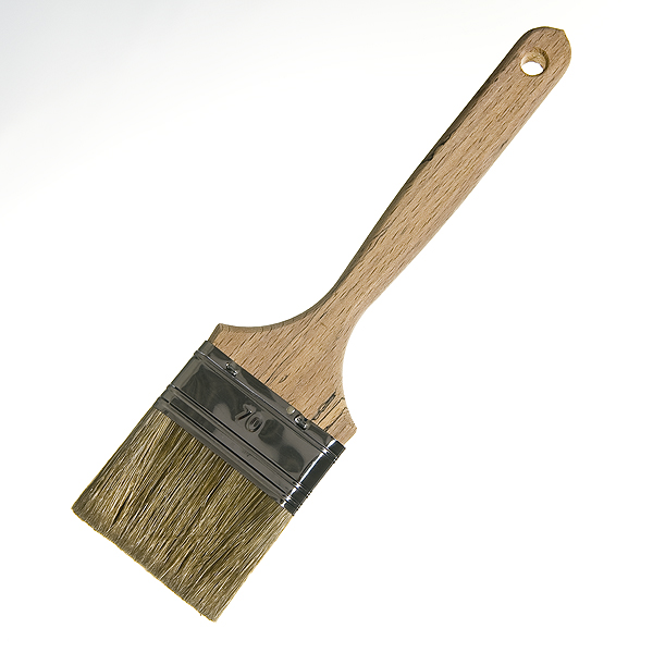 Кисть плоская  70 мм смешанная щетина деревянная ручка Лазурный берег Стандарт