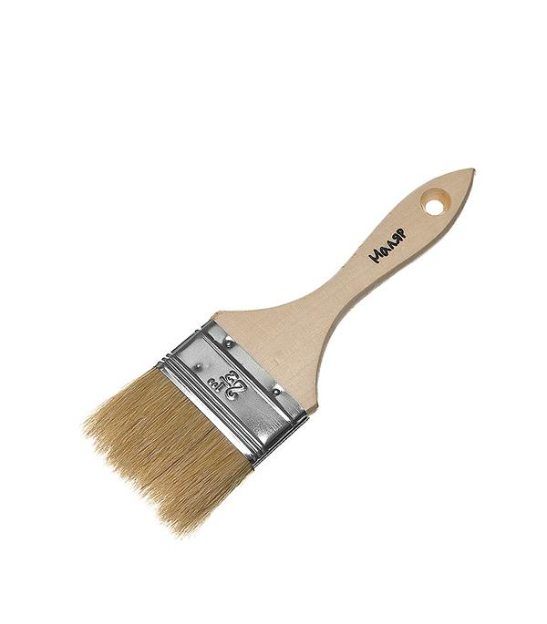 Кисть плоская  63 мм натуральная щетина деревянная ручка Эконом