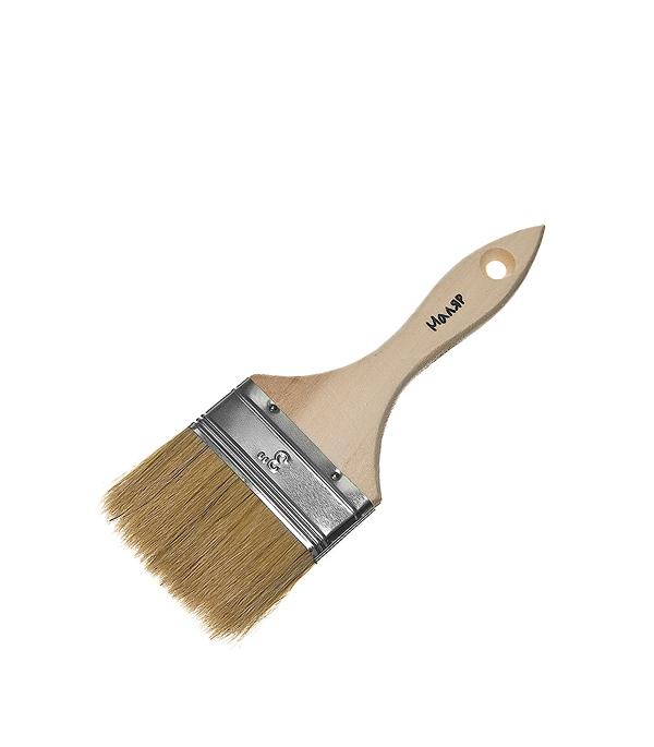Кисть плоская  75 мм натуральная щетина деревянная ручка Эконом