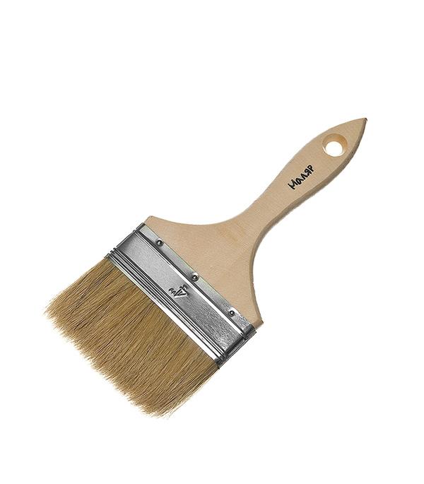 Кисть плоская 100 мм  натуральная щетина деревянная ручка Эконом