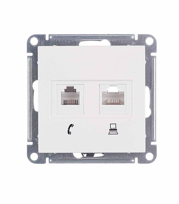 Механизм розетки компьютерной+ розетки телефонной Schneider Electric Wessen59 белый